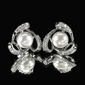4.13 G. Matey Natural White Pearl Jewelry Sterling Silver Earring