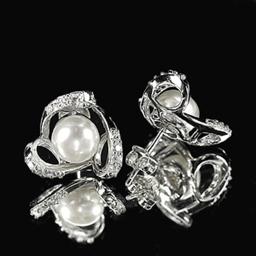 4.10 G. Ravishing Natural White Pearl Jewelry Sterling Silver Earring