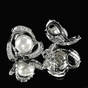 4.20 G. Alluring Natural White Pearl Jewelry Sterling Silver Earring