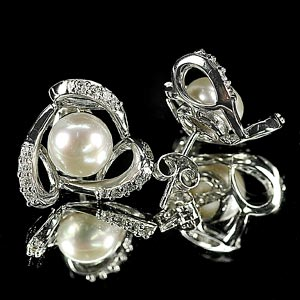 4.04 G. Attractive Natural White Pearl Jewelry Sterling Silver Earring