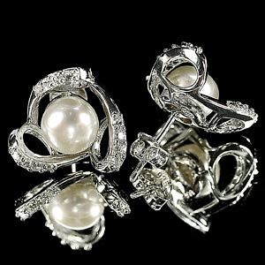 4.19 G. Attractive Natural White Pearl Jewelry Sterling Silver Earring
