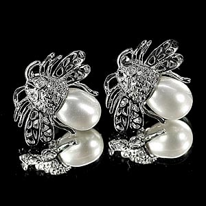 4.58 G. Attractive Jewelry Sterling Silver White Pearl Earrings
