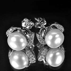 4.53 G. Attractive Natural White Pearl Jewelry Sterling Silver Earring