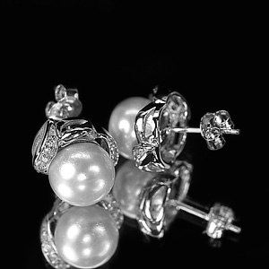 4.46 G. Attractive Natural White Pearl Jewelry Sterling Silver Earring