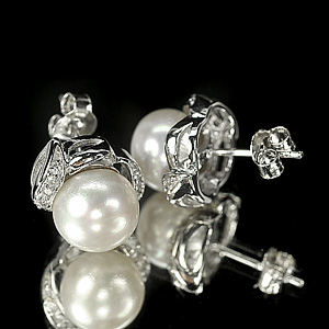 4.50 G. Jewelry Sterling Silver Earrings Natural White Pearl Round Cabochon