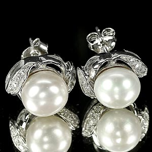 4.36 G. Seductive Jewelry Sterling Silver White Pearl Earrings
