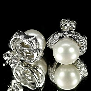 4.45 G. Jewelry Sterling Silver Earrings Natural White Pearl