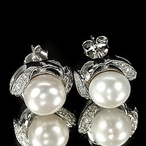 4.37 G. Attractive Jewelry Sterling Silver White Pearl Earrings