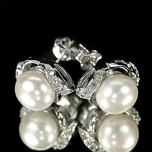 4.37 G. New Design Jewelry Sterling Silver White Pearl Earrings
