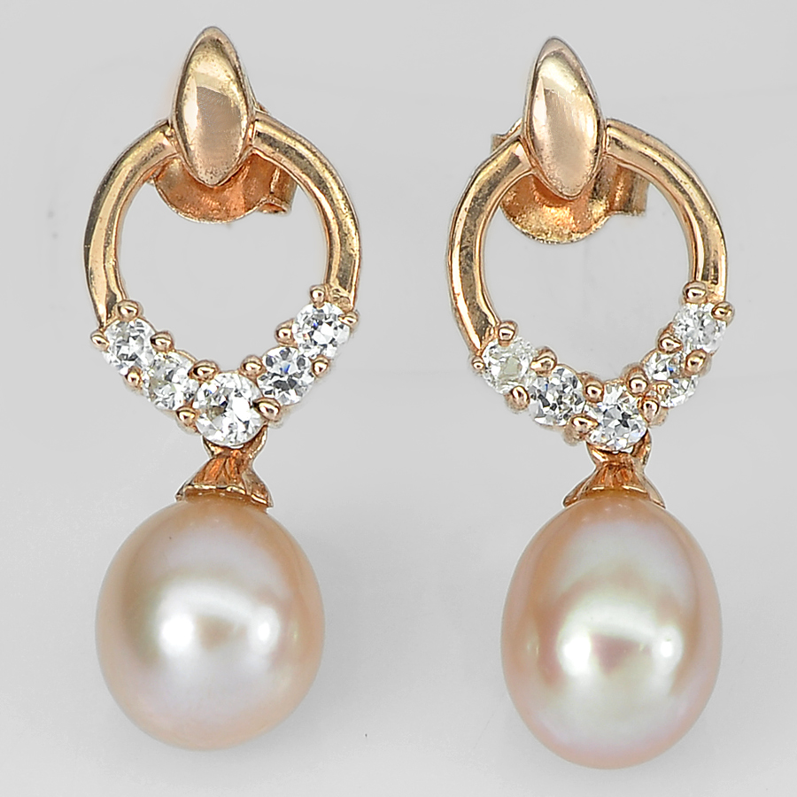 4.27 G. 925 Sterling Silver Rose Gold Earrings Natural Pink Pearl with White CZ