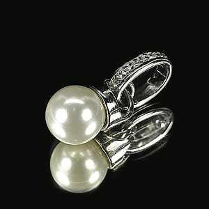 2.10 G. Seductive Natural White Pearl Jewelry Sterling Silver Pendent