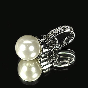 2.13 G. Alluring Natural White Pearl Jewelry Sterling Silver Pendent