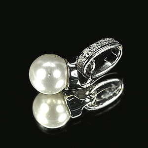 2.13 G. Nice Natural White Pearl Jewelry Sterling Silver Pendent