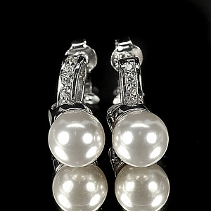 4.65 G. Attractive Natural White Pearl Jewelry Sterling Silver Earring