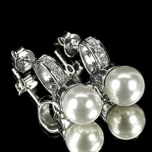 4.46 G. Special Natural White Pearl Jewelry Sterling Silver Earring