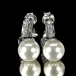 4.50 G. Alluring Natural White Pearl Jewelry Sterling Silver Earring