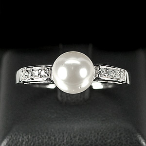 3.18 G. New Design Natural White Pearl Jewelry Sterling Silver Ring Size 9.5