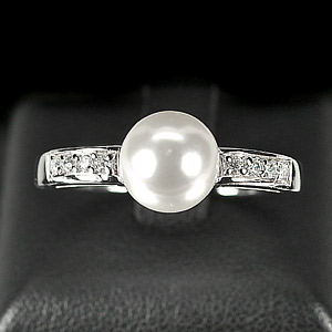 3.29 G. Natural White Pearl Jewelry Sterling Silver Ring Size 10.5