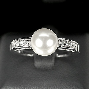3.17 G. Natural White Pearl Jewelry Sterling Silver Ring Size 8.5