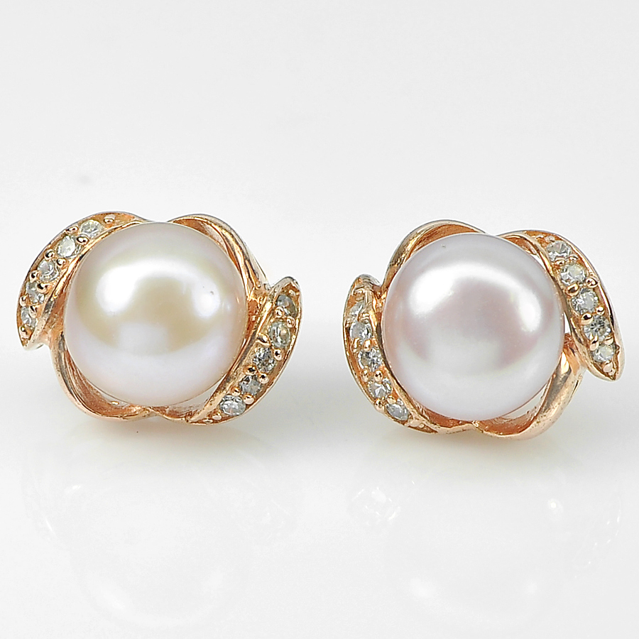 4.43 G. Real 925 Sterling Silver Rose Gold Earrings Nice Natural Pink Pearl