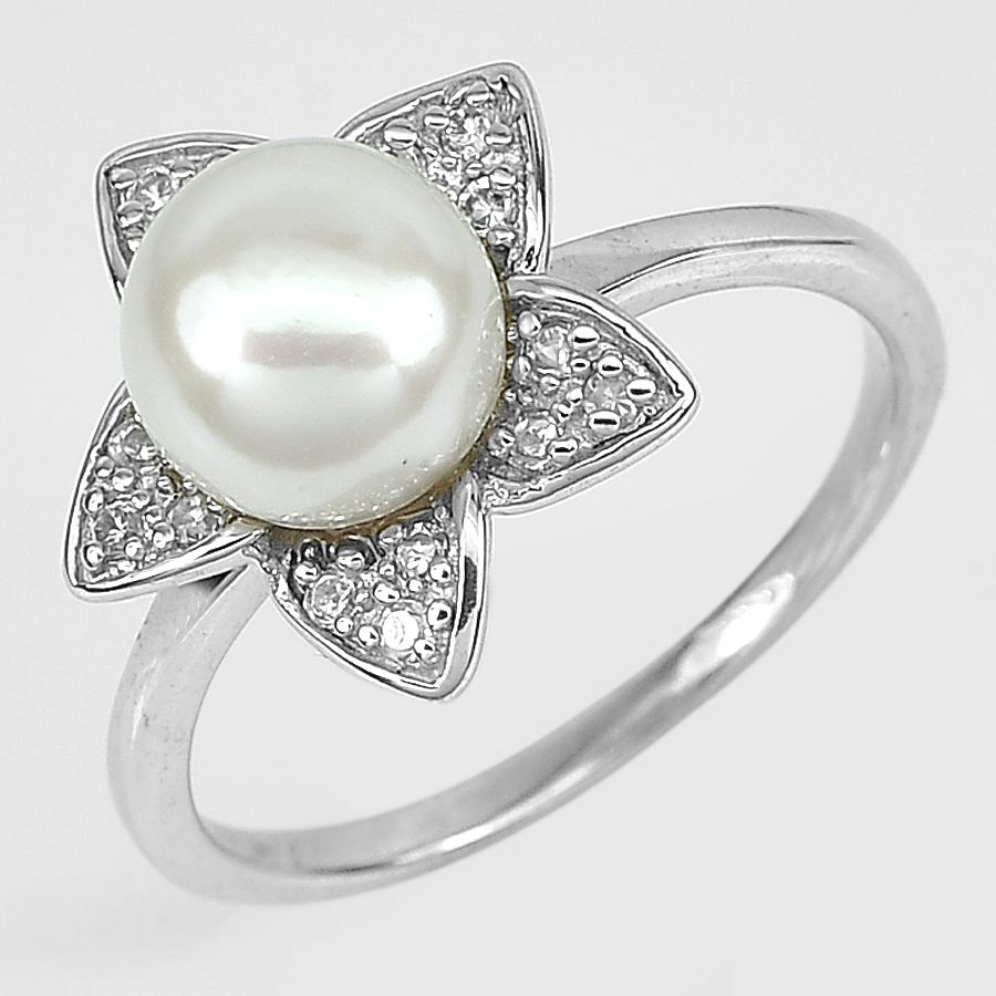 3.65 G. New Design Natural White Pearl Jewelry Sterling Silver Ring Size 10