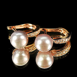 4.46 G. Matey Natural Purplish Pink Pearl Rose Gold Plated Silver Earring