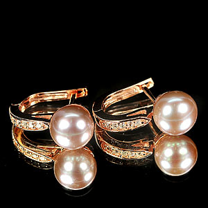 4.49 G. Matey Natural Purplish Pink Pearl Rose Gold Plated Silver Earring