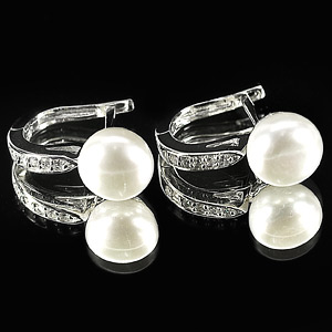 4.46 G. New Design Natural White Pearl Jewelry Sterling Silver Earring