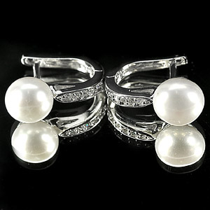4.25 G. New Design Natural White Pearl Jewelry Sterling Silver Earring