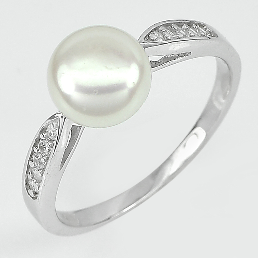 2.84 G. Nice Round Cabochon Natural White Pearl Sterling Silver Ring Size 9