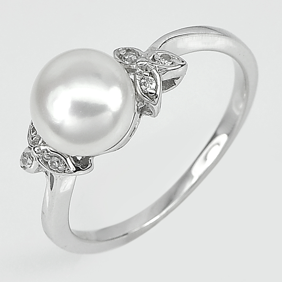 3.15 G. Round Cabochon Natural White Pearl Jewelry Sterling Silver Ring Size 9
