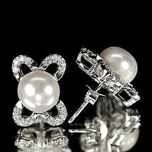4.65 G. Round Cabochon Natural White Pearl Jewelry Sterling Silver Earrings
