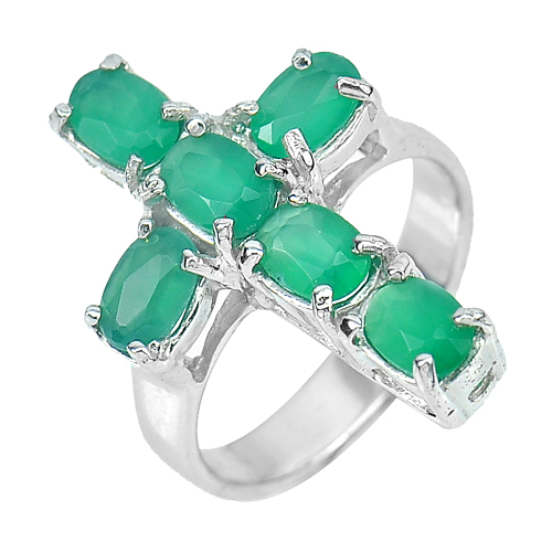 6.09 G. Natural Green Aventurine Gems Real 925 Sterling Silver Rings Size 7.5