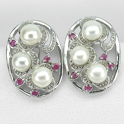 13.79 G. Natural White Pearl And Ruby Gems Real 925 Sterling Silver Earrings