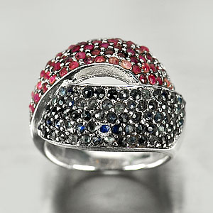 9.78 G. Beauty Natural Ruby Sapphire 925 Sterling Silver Jewelry Ring Sz 7.5