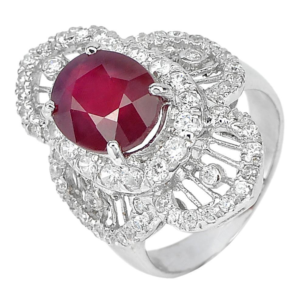 6.94 G. Oval Natural Red Ruby with CZ Real 925 Sterling Silver Ring Size 6.5