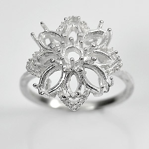 Wholesale 5 Pcs / $41.72 Solid 925 Sterling Silver Setting Semi Mount Flower