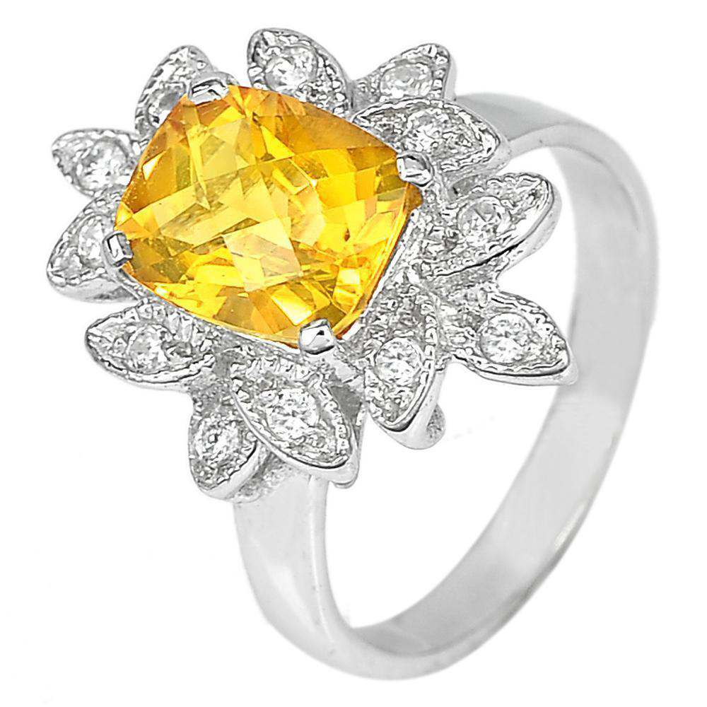 5.61 G. Natural Gem Citrine with CZ Real 925 Sterling Silver Fine Ring Size 8