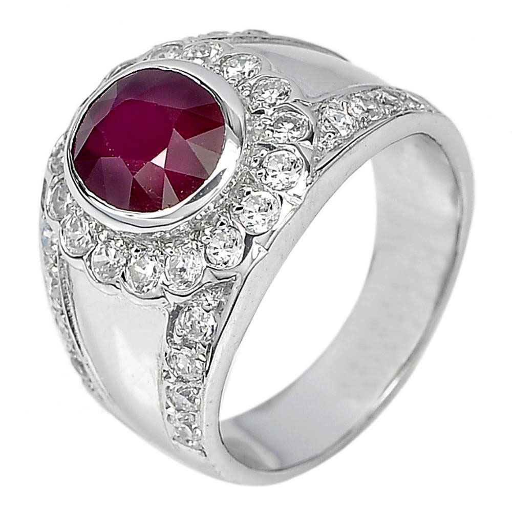 7.74 G. Oval Natural Gem Red Ruby with CZ Real 925 Sterling Silver Ring Size 7.5