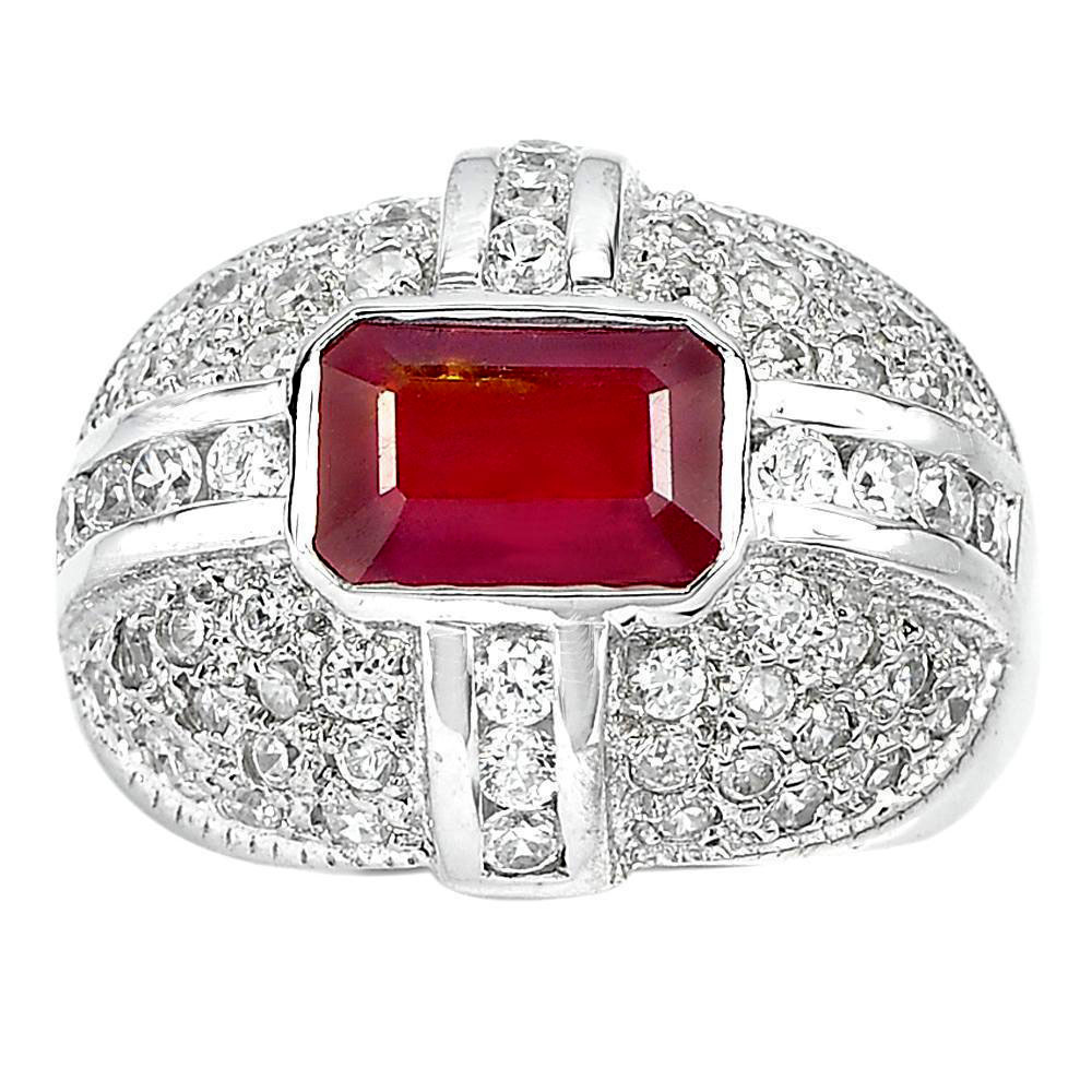 11.21 G.  Octagon Natural Red Ruby Real 925 Sterling Silver Jewelry Ring Size 8