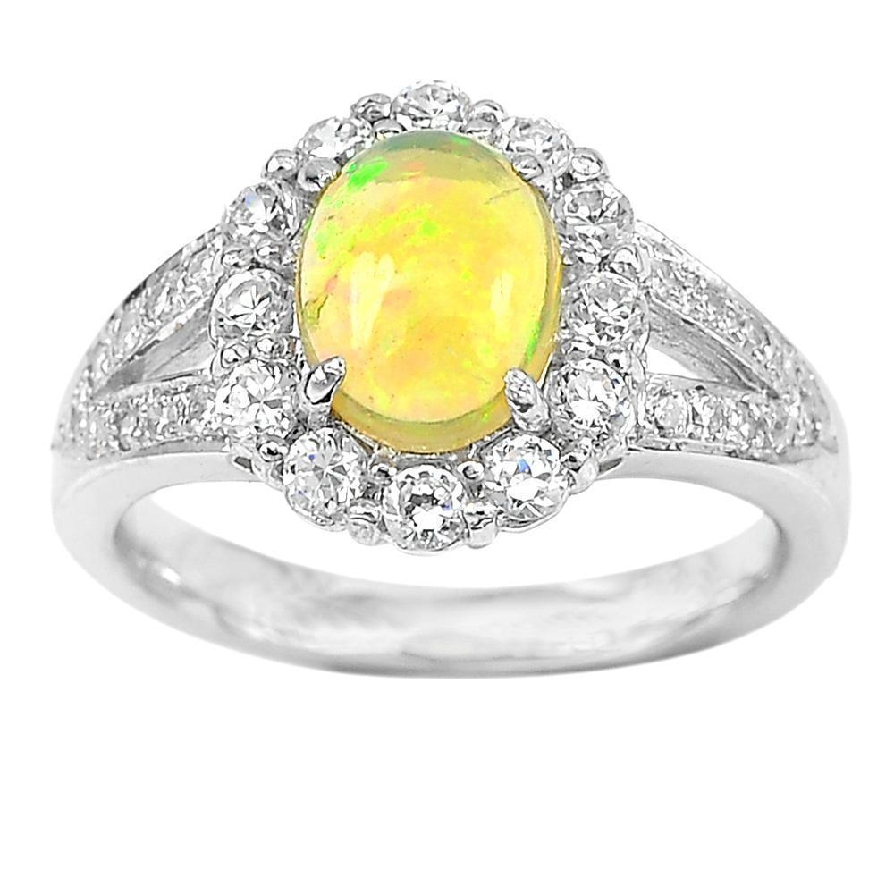 5.47 G. Natural Multi-Color Opal with Cz 925 Sterling Silver Fine Ring Size 7