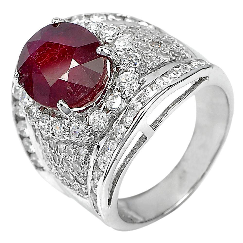 11.25 G. Oval Shape Gem Natural Red Ruby Real 925 Sterling Silver Ring Size 7.5