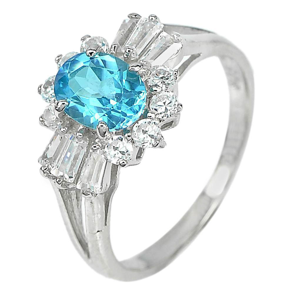 3.50 G. Gemstone Natural Blue Topaz with Cz 925 Sterling Silver Fine Ring Size 8