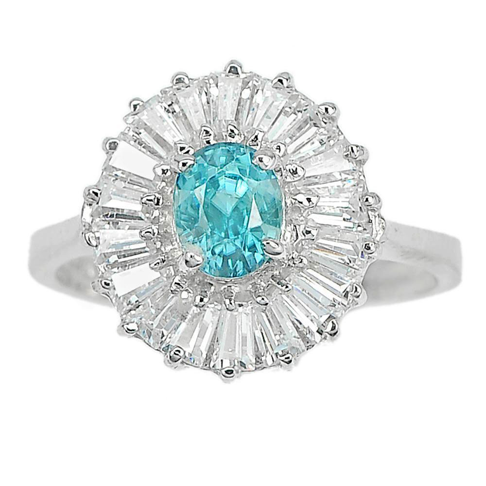 1.28 Ct. Natural Gem Oval Blue Zircon with CZ 925 Sterling Silver Ring Size 7