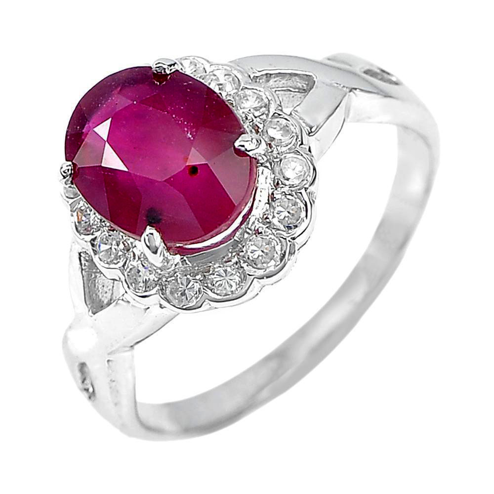 3.30 G.Oval Shape Natural Red Ruby 925 Sterling Silver Fine Jewelry Ring Size 7