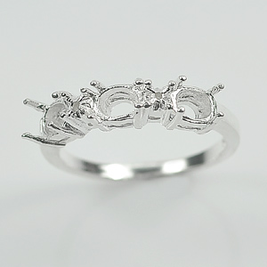 Wholesale 5 Pcs / $33.76 Sterling 925 Silver Three Stones Mount Ring Setting