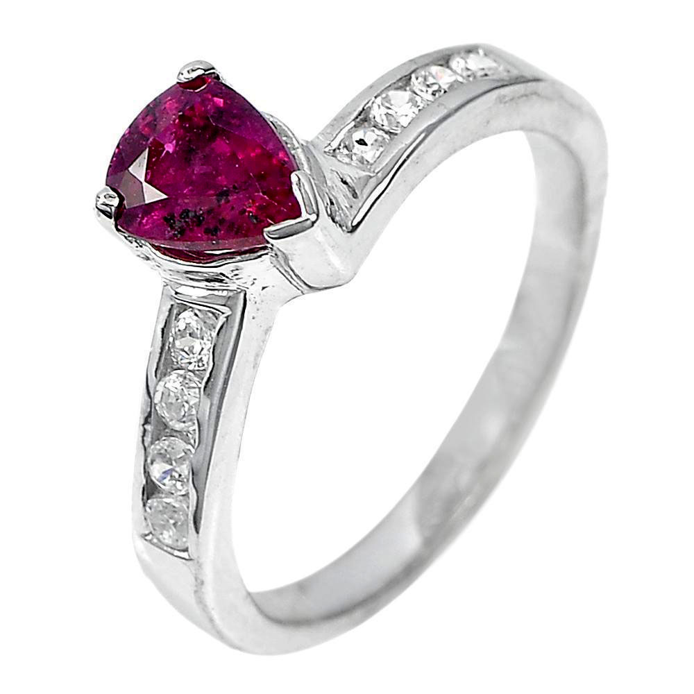 2.85 G. Pear Shape Gem Natural Red Ruby Real 925 Sterling Silver Ring Size 7