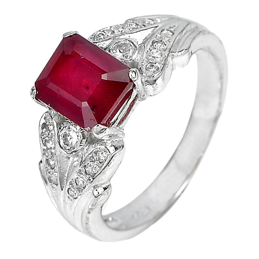 4.33 G. Octagon Shape Natural Red Ruby 925 Sterling Silver Jewelry Ring Size 7