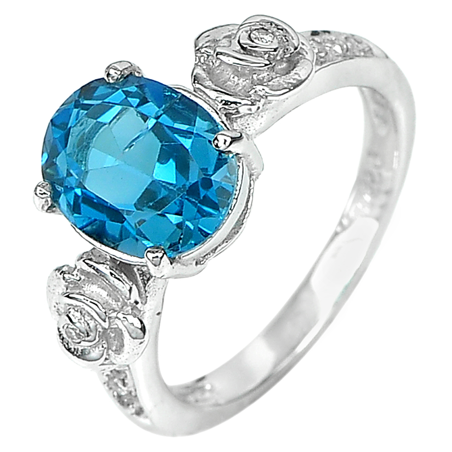 2.89 G. Good Natural London Blue Topaz Real 925 Silver Jewelry Ring Size 4.5