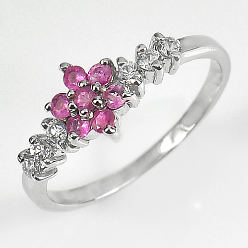 1.73 G. Natural Pink Sapphire Gemstone Real 925 Sterling Silver Rings Size 7